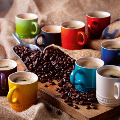 RS1036_Le_Creuset_Espresso_Mug_selection_-_Kiwi__Satin_Black__Flame__Cherry__Cassis__Dijon__Caribbean_Blue__Pearl__Cobalt